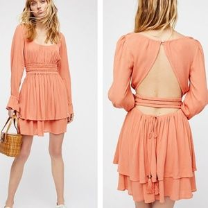 Free People Much Ado Open Back Ruffle Mini Dress